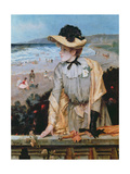 Young Woman at the Beach, or the Parisienne by the Sea Giclee Print by Alfred Emile Stevens