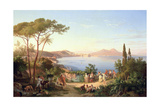 Bay of Naples with Dancing Italians, C.1850 Giclee Print by Carl Wilhelm Goetzloff