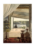 View from a Room with a Balcony over the Gulf of Naples, 1826 Giclee Print by Carl Wilhelm Goetzloff