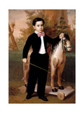 Portrait of a Boy with a Horse, 1851 Giclee Print by Antonio Maria Esquivel