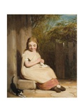 Young Girl with Kitten Giclee Print by William Mulready