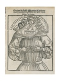 Anti-Reformatorical Caricature Showing Martin Luther with Seven Heads, by Johannes Cochlaeus,… Giclee Print by Hans Brosamer
