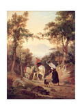 Italian Landscape with Peasants, C.1845 Giclee Print by Carl Wilhelm Goetzloff