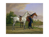 Portrait of a Man with Two Horses, 1825 Giclee Print by Albrecht Adam