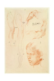 Annotated Demonstration: Drawings and a Study of a Girl's Head Giclee Print by Henry Tonks