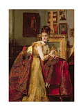 Woman with an Indian Shawl in a Studio Giclee Print by Alfred Emile Stevens