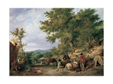 Country Lane with Gypsies Giclee Print by Thomas Sidney Cooper