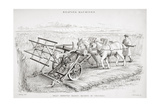Bell's Improved Reaping Machine, Engraved by J.M. Lowry Giclée-Druck von Cornelius Varley