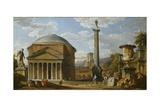 Capriccio of Roman Ruins with the Pantheon, 1737 Reproduction procédé giclée par Giovanni Paolo Pannini