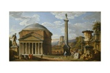 Capriccio of Roman Ruins with the Pantheon, 1737 Giclee Print by Giovanni Paolo Pannini