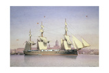 H.M.S. Monarch at Plymouth Giclee Print by William Frederick Mitchell