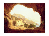 View from a Grotto over the Amalfi Coast, C.1842 Giclee Print by Carl Wilhelm Goetzloff
