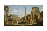 A Capriccio View of Roman Ruins, 1737 Giclee Print by Giovanni Paolo Pannini or Panini