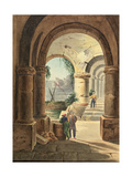 View of the Sea Through a Cloister, 1829 Giclee Print by Carl Wilhelm Goetzloff