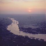 Aerial View of London, Looking West Along the River Thames Photographic Print