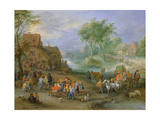 A Village Landscape with Figures Making Merry and Travellers Passing Through a Stream Giclee Print by Theobald Michau