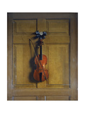 Violin and Bow Hanging on a Door Giclee Print by Jan van der Vaardt