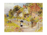 Cottages - a Row of Cottages with a Figure and Other Children Playing Giclee Print by William Stephen Coleman