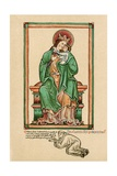 Virgin and Child with Self Portrait Kneeling at their Feet Giclee Print by Matthew Paris