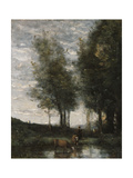 The Pond, Cowherd Giclee Print by Jean-Baptiste-Camille Corot