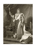 Napoleon I, Emperor of France, in His Coronation Robes, Engraved by Auguste Desnoyers (1779-1857) Giclee Print by Francois Pascal Simon Gerard