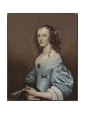 Portrait of a Lady in a Blue Dress, Holding a Fan, 1650s Giclee Print by Adriaen Hanneman