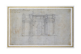 Study of the Upper Level of the Medici Tomb, C.1520 Giclee Print by  Michelangelo Buonarroti