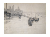 View of Thames, City Stream Company Jetty, Battersea Power Station Giclee Print by Walter Greaves