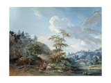 Bridge in a Valley, 1778 Giclee Print by Jean-Baptiste Huet