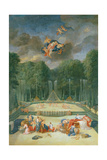 The Groves of Versailles. View of the Theatre of Water with Nymphs Waiting to Receive Psyche Giclee Print by Jean the Younger Cotelle