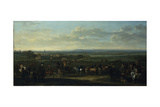 A View of Old Newmarket with Figures and Horses on the Heath Giclee Print by John Wootton
