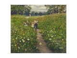 Gathering Wild Flowers Giclee Print by Philip Richard Morris