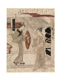 Young Man Being Handed His Sedge Hat, C.1768 Giclee Print by Suzuki Harunobu