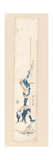 Artist Standing on the Back of a Man and Writing on a Column, C.1820 Giclee Print by Katsushika Hokusai