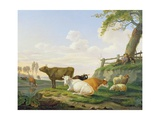 Cows and Shepherd Giclee Print by Abraham Bruiningh van Worrell