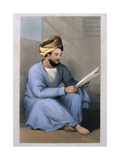 Captain Johnstone, Shah's Service, Seated Reading in Afghan Dress, 1842 Giclee Print by Lieutenant Vincent Eyre