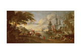 View of a Port in the Orient Giclee Print by Hendrik van Minderhout