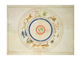 Zodiac Calendar, from an Atlas of the World in 33 Maps, Venice, 1st September 1553 Giclée-tryk af Battista Agnese