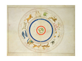 Zodiac Calendar, from an Atlas of the World in 33 Maps, Venice, 1st September 1553 Impressão giclée por Battista Agnese