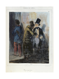 'Nothing There', Caricature Depicting a Pickpocket Robbing a Student's Pocket. C.1840 Giclee Print by Paul Gavarni