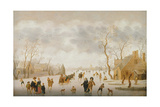 Winter Landscape with Skaters and Golf Players Giclee Print by Antoni Verstralen