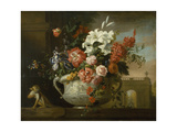 Still Life with Flowers in an Urn, with a Monkey, on a Ledge, C.1699 Giclee Print by Jakob Bogdani Or Bogdany