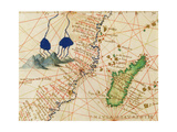 Madagascar, from an Atlas of the World in 33 Maps, Venice, 1st September 1553 (Detail) Giclee Print by Battista Agnese