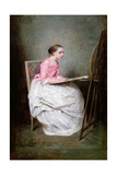 A Girl Drawing, 1856 Giclee Print by Charles Chaplin