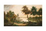 Extensive River Landscape with a Drover Giclee Print by George, of Chichester Smith