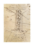 Vertically Standing Bird's-Winged Flying Machine, Fol. 80R from Paris Manuscript B, 1488-90 Giclee Print by Leonardo Da Vinci