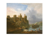 A View of Conway Castle with Fishermen Mending their Nets Giclee Print by John Inigo Richards