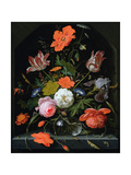 Still Life of Flowers in a Glass Vase Lámina giclée por Abraham Mignon