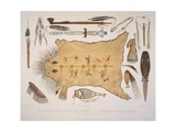 Indian Utensils and Arms, Engraved by A. Zschokke and J. Hurliman, Published in 1840 Giclee Print by Karl Bodmer