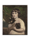 Portrait of a Young Girl with a Cat Giclee Print by Daniel Gardner